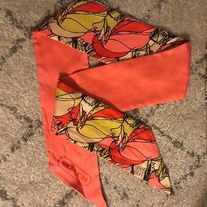 Coach silk reversible skinny scarf
